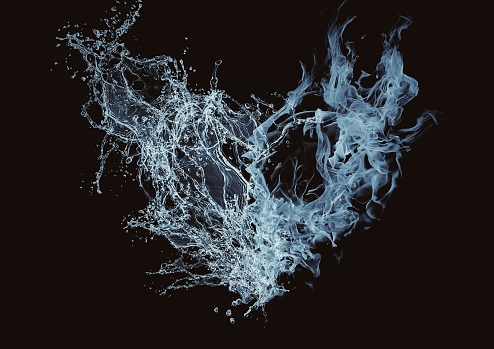 3D illustration of an abstract heart that combines water and smoke
