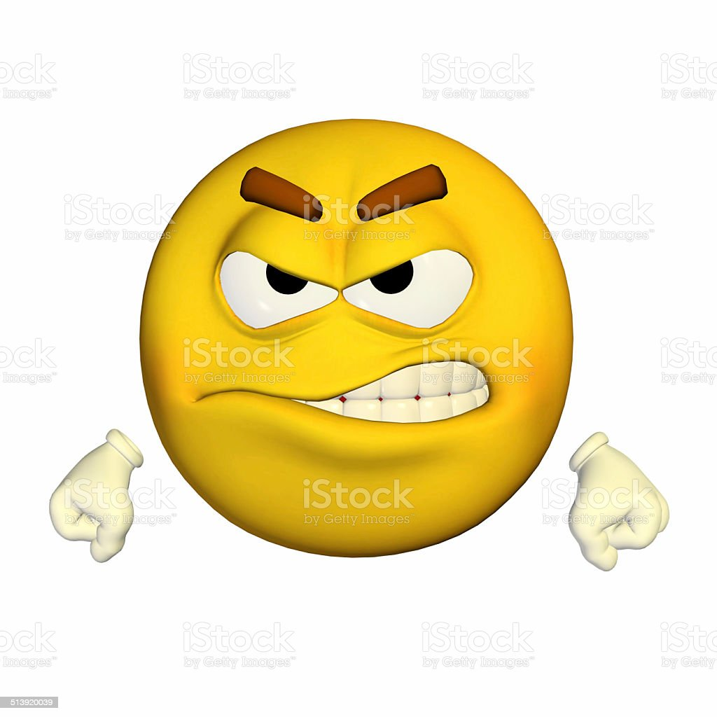 Illustration of an angry yellow smiley stock photo