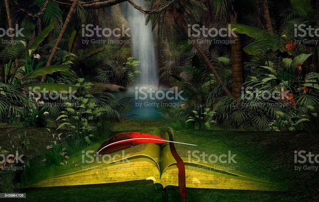 Illustration of an open book in the jungle stock photo