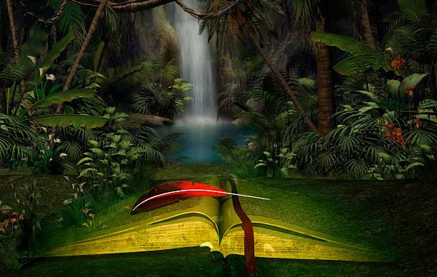 illustration of an open book in the jungle - märchenillustrationen stock-fotos und bilder