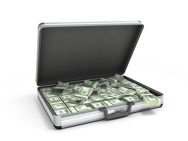 illustration of an open metal case 3d illustration of an open metal case with black handle full packs of dollar bills isolated on white background briefcase stock pictures, royalty-free photos & images