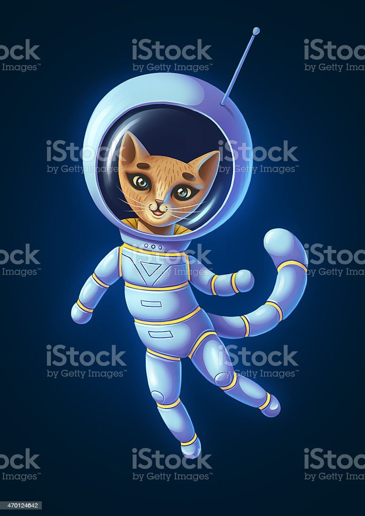Illustration of astronaut cat in detailed style. Isolated on dark stock photo