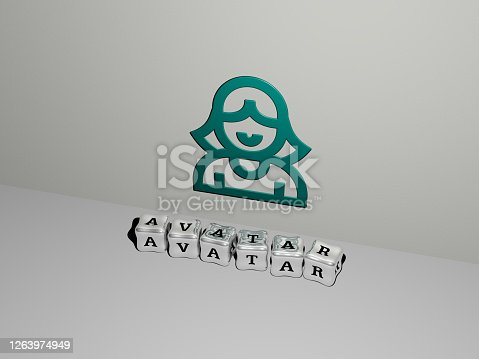 istock 3D illustration of AVATAR graphics and text made by metallic dice letters for the related meanings of the concept and presentations. icon and character 1263974949
