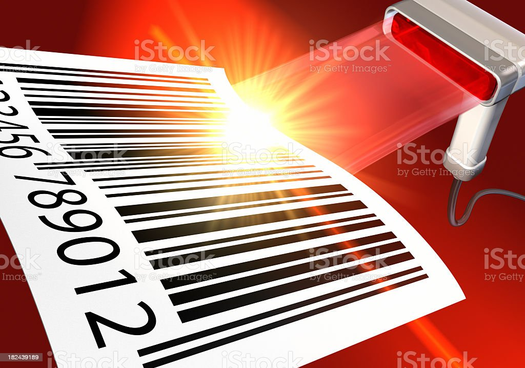 Illustration of barcode scanner with a large barcode on red stock photo