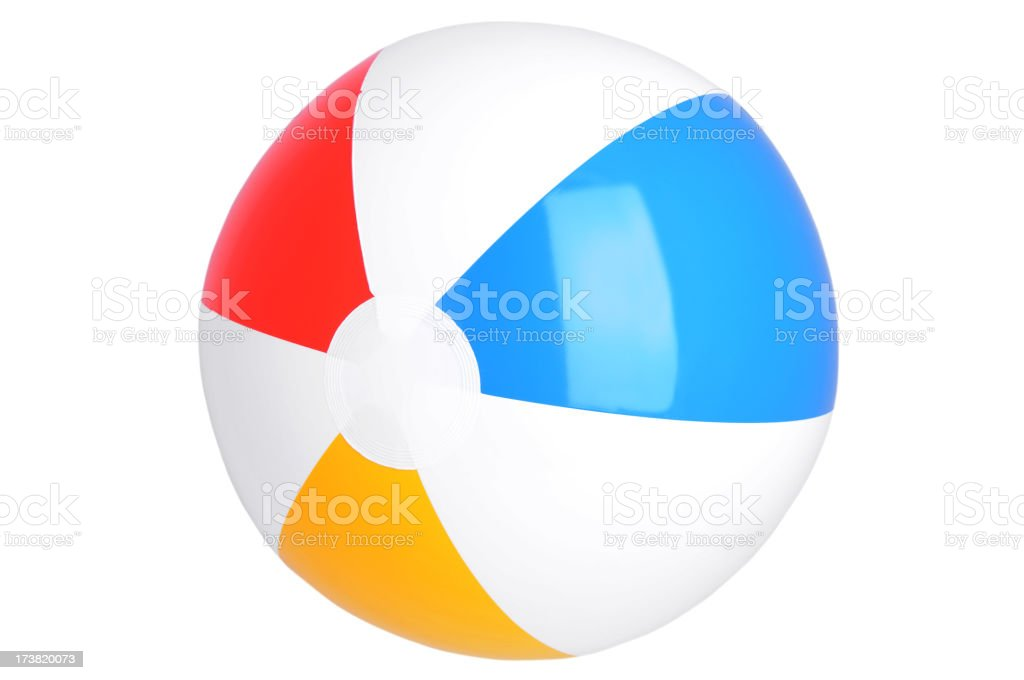 Illustration of beach ball with red, blue and yellow stripes stock photo