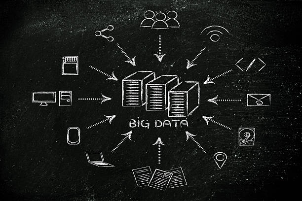 illustration of big data, file transfes and sharing files stock photo