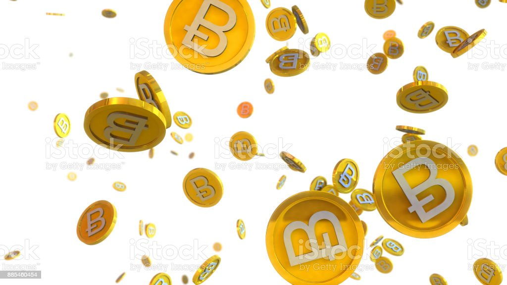 3D illustration of bitcoin coins falling on a white background stock photo