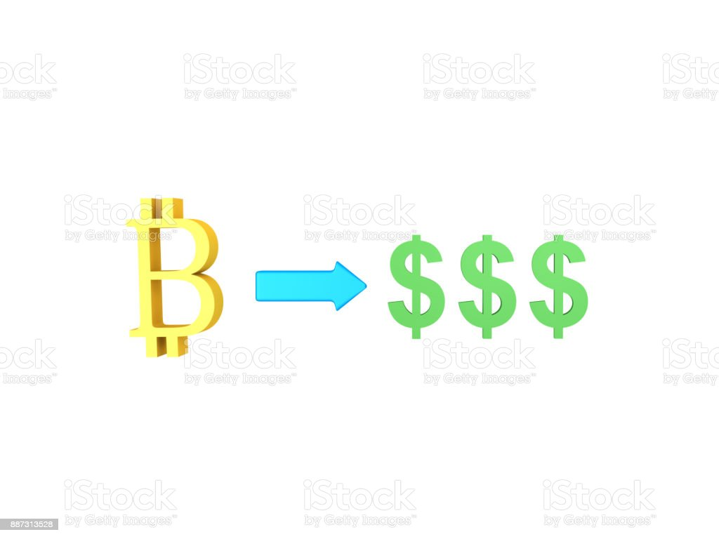 3D illustration of Bitcoins multiplying into dollars stock photo
