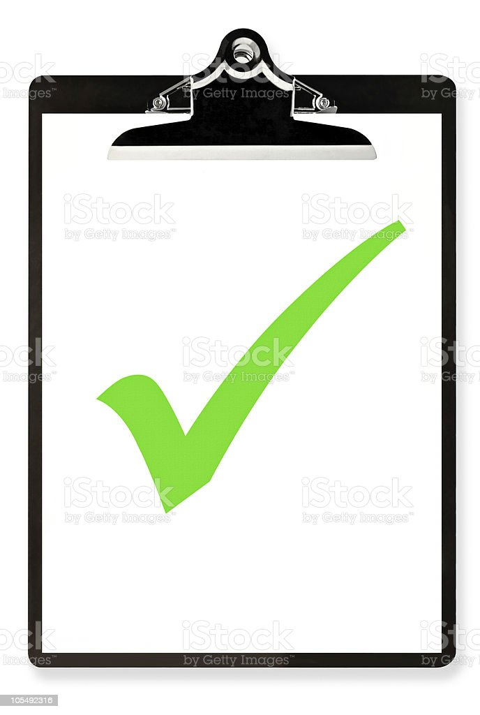 Illustration of black and white clipboard with green check stock photo