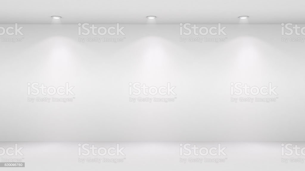 3D illustration of blank wall lighted by spotlights stock photo