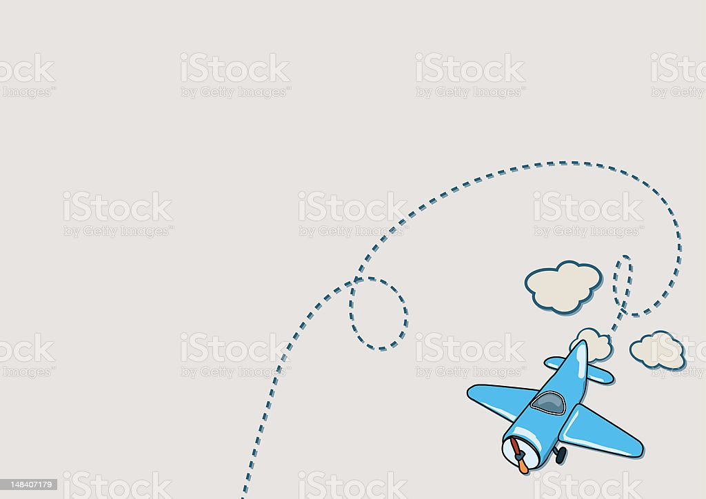 Illustration of blue airplane with beige clouds stock photo