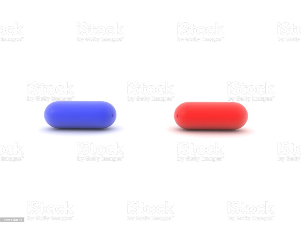 3D illustration of blue and red pill stock photo