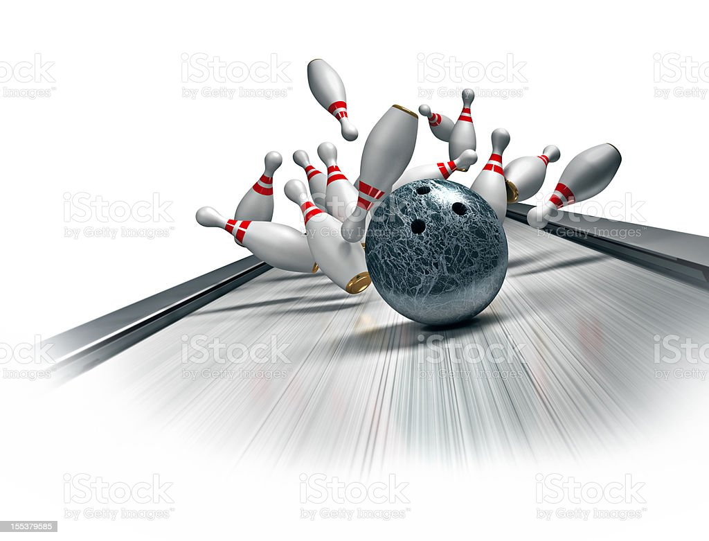 3D illustration of bowling ball hitting a strike stock photo