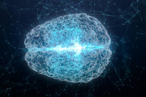 Ilustración del análisis del cerebro y la línea y el punto de conexión de ADN, diseño futurista para la tecnología digital y el concepto de ciencia - foto de stock
