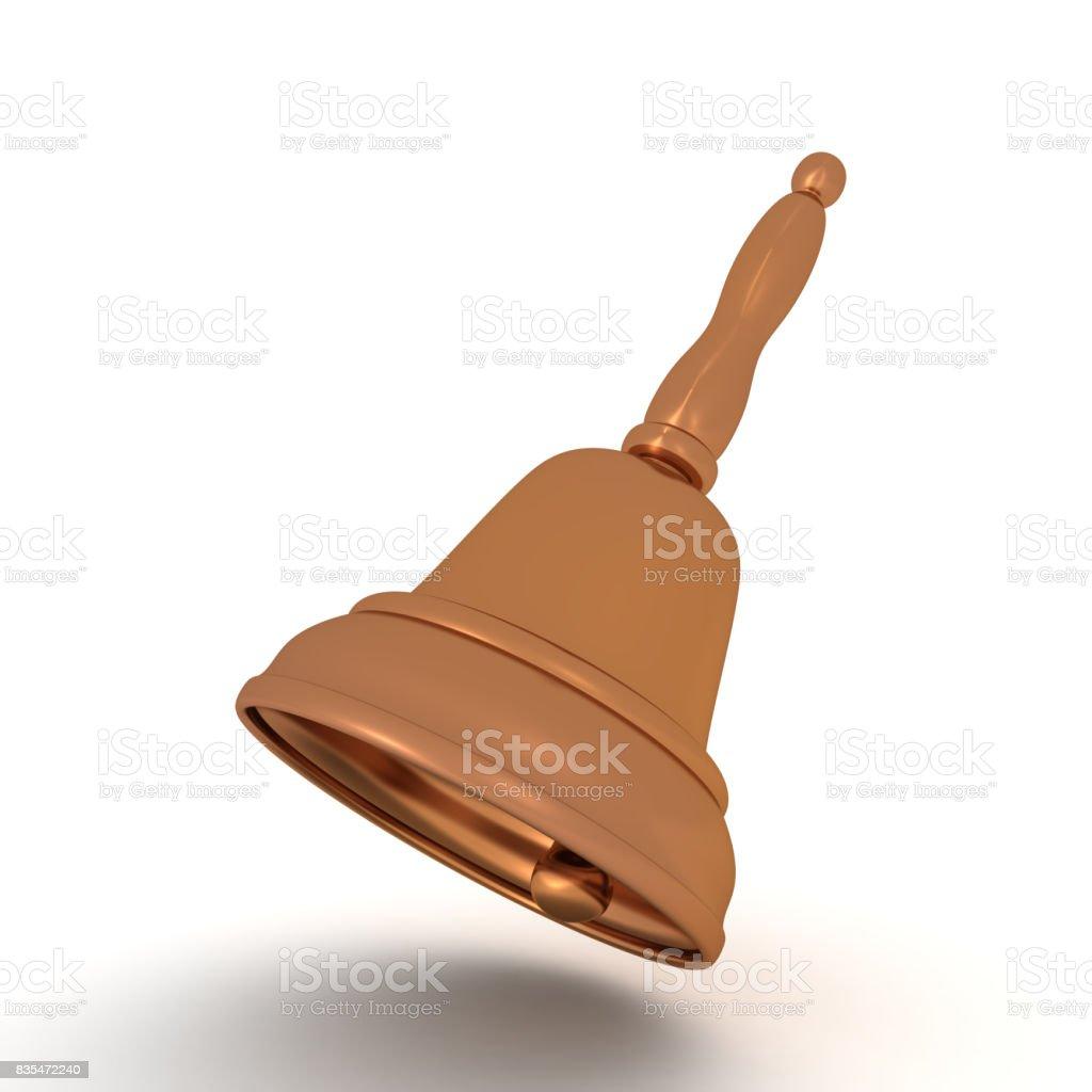 3D illustration of bronze bell stock photo