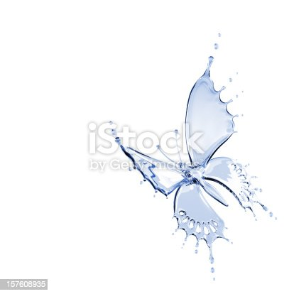 155146839 istock photo Illustration of butterfly made from water 157608935