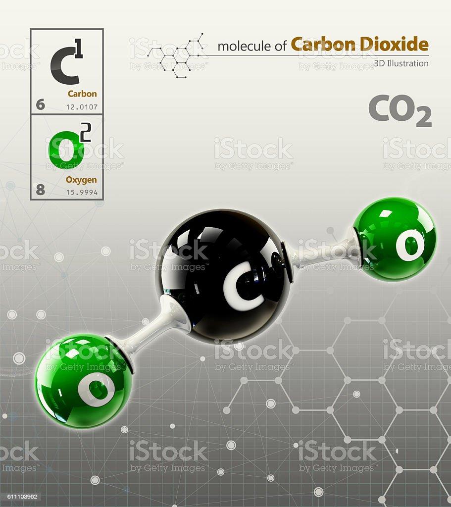 Illustration of Carbon Dioxide Molecule isolated grey background - foto de stock