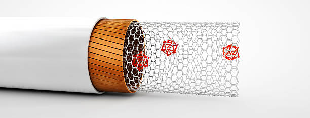 illustration of carbon nanotube structure inside view . - graphene stock photos and pictures