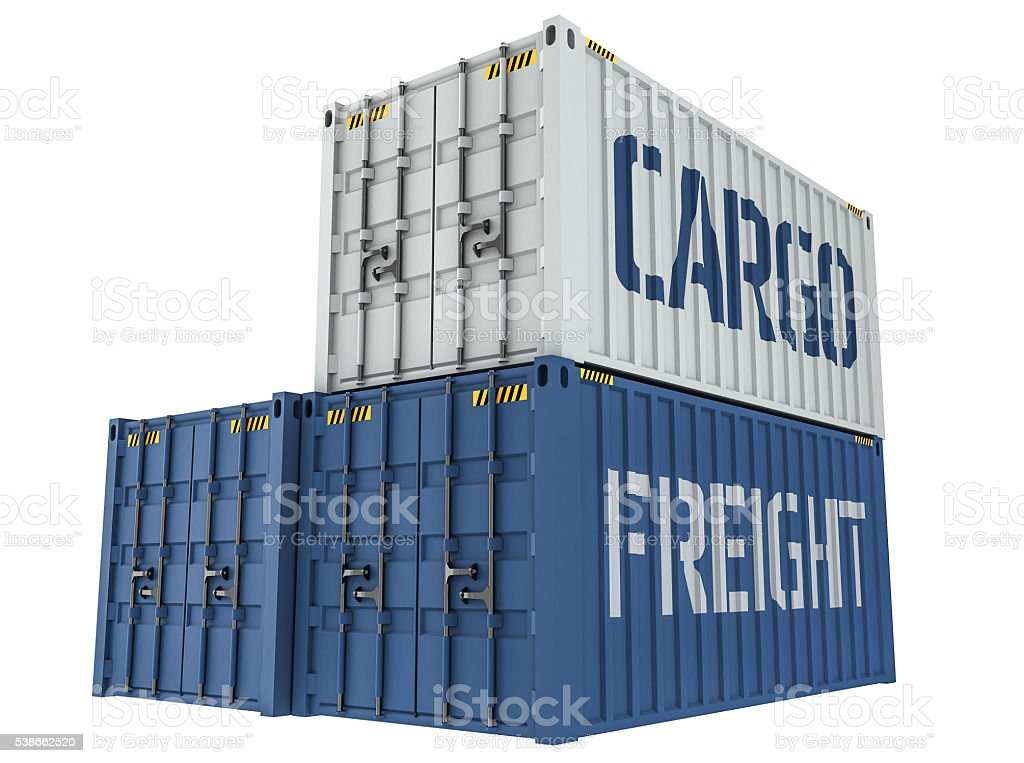 Illustration of Cargo containers isolated on white stock photo