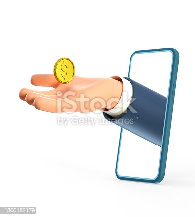 3D illustration of cartoon businessman hand reaching out to gold dollar coin  through smartphone screen. Concept of online credit banking, mobile application, ecommerce. Isolated on white.