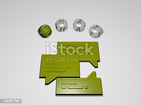 istock 3D illustration of CHAT graphics and text around the icon made by metallic dice letters for the related meanings of the concept and presentations. communication and business 1262817991