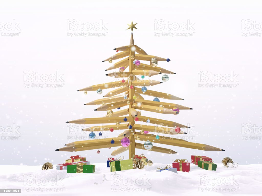 3D illustration of Christmas tree made from pencils with present boxes and ornaments. stock photo