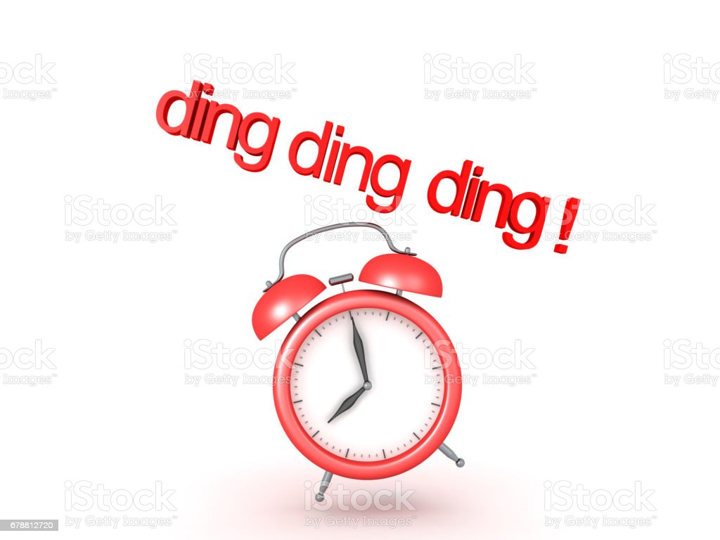 3D illustration of classic alarm clock ringing stock photo
