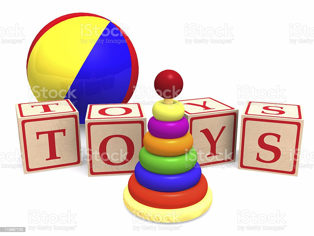 Illustration of classic children's toys Blocks spell toys  royalty-free stock photo