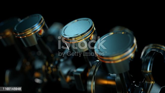 istock 3D illustration of close-up of engine in slow motion, pistons and valves. 1165145948