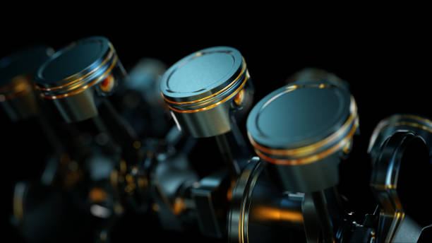 3D illustration of close-up of engine in slow motion, pistons and valves. 3D illustration of close-up of engine in slow motion, pistons and valves. piston stock pictures, royalty-free photos & images