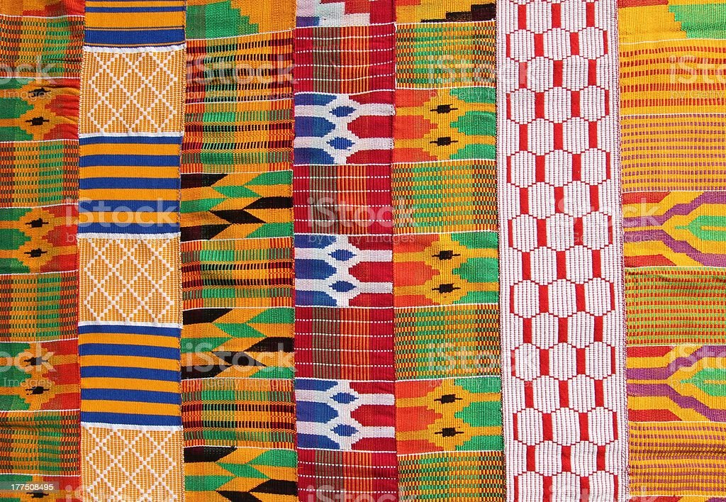 Illustration of colorful kente cloth from Ghana West Africa stock photo