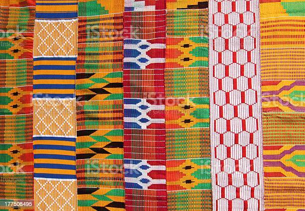 Illustration of colorful kente cloth from Ghana West Africa