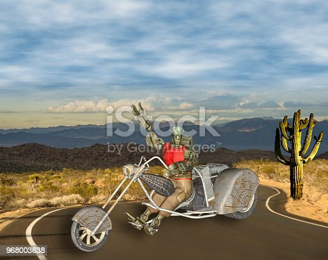 3D Illustration of Colorful Robotic Biker on Desert Road on bright sunny day.