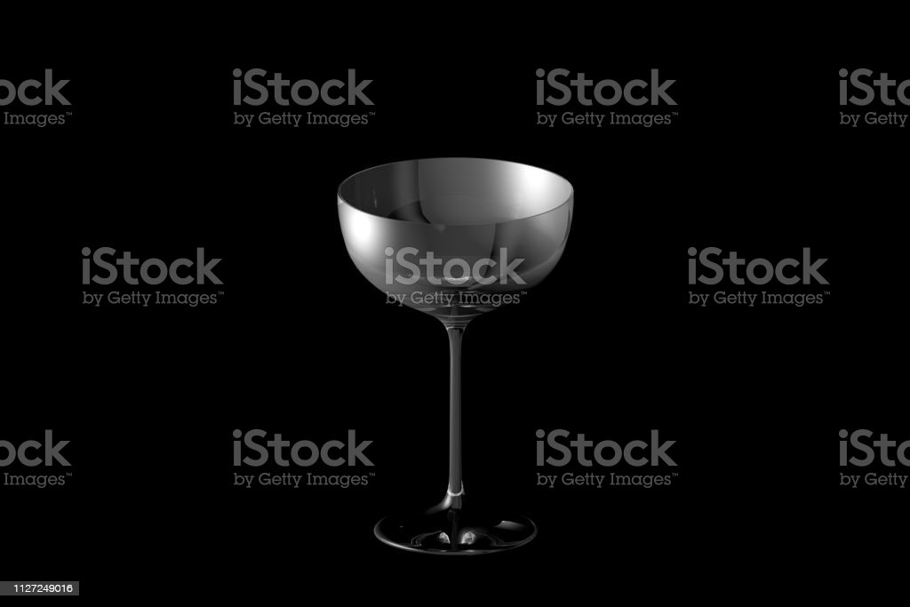 coupe sparkling wine glass isolated on black - drinking glass render,...