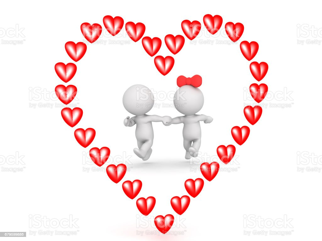 illustration of couple running outlined by a red cartoon heart picture id679599886