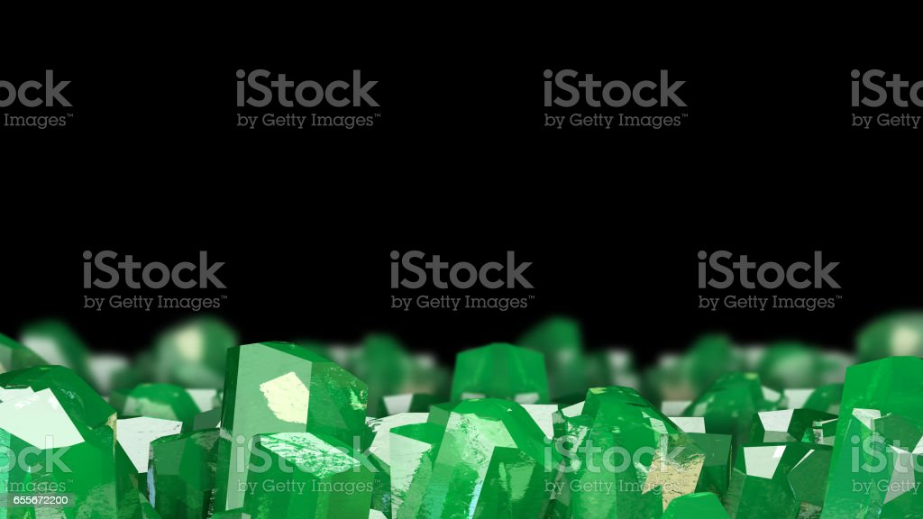 3D illustration of crystal stone macro mineral. Emerald crystals on black background. stock photo
