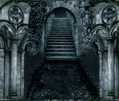 illustration of dark scary stone stair entrance with stone architecture on both sides