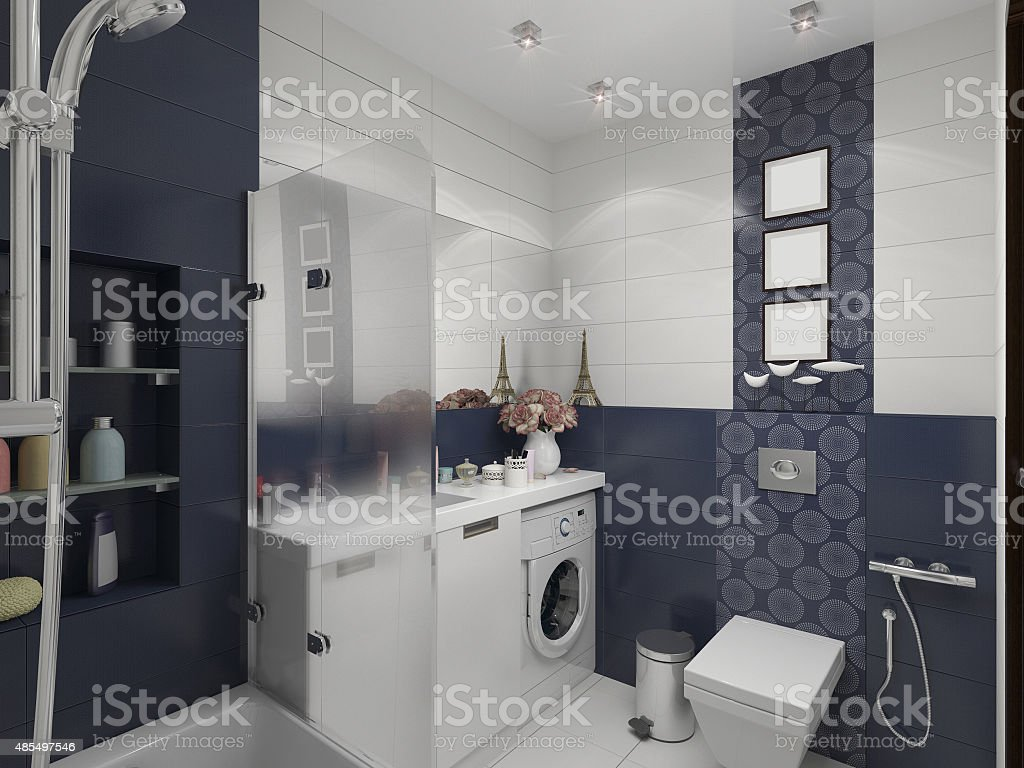 3D illustration of design of a bathroom in blue color stock photo