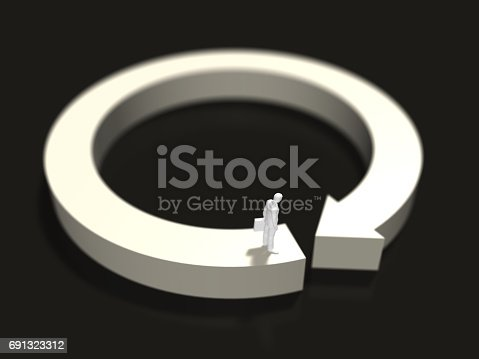 istock 3D illustration of direction of arrow 691323312