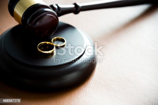 istock Illustration of divorce concept with two rings on gravel 468367275