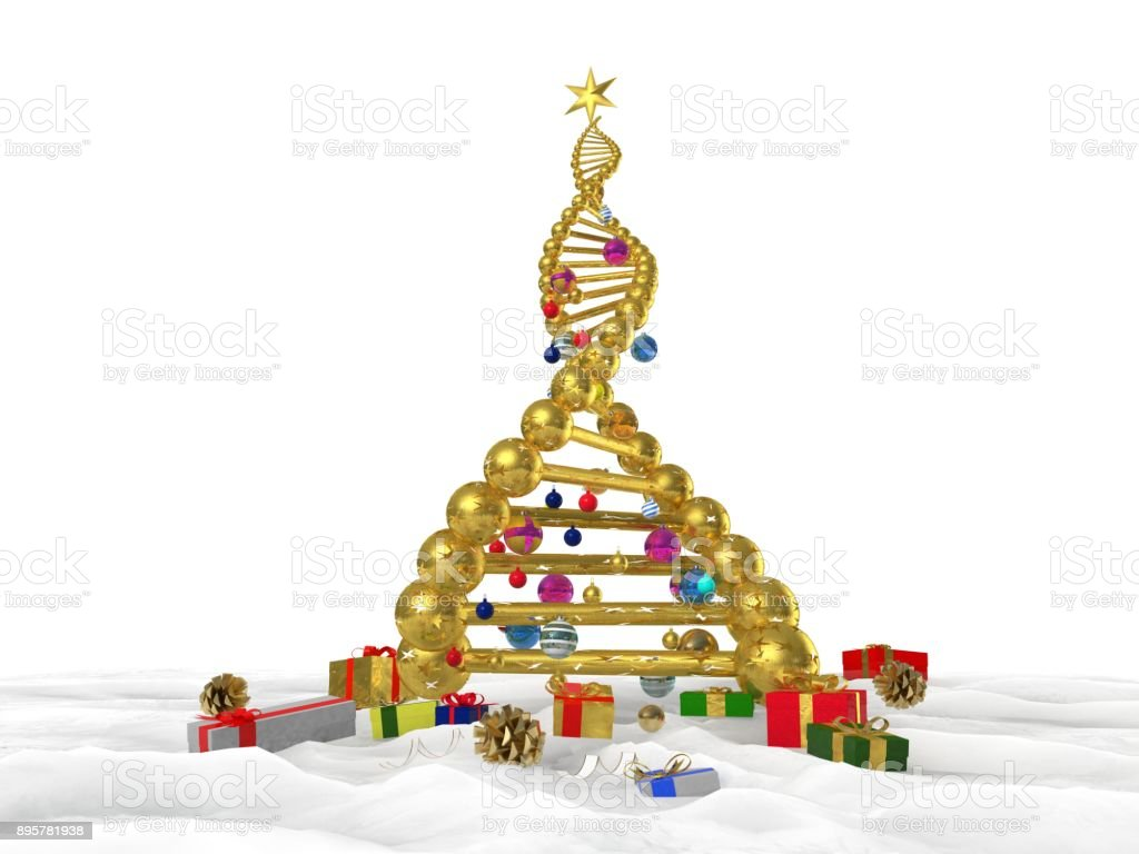 3D illustration of DNA strand as a new years Christmas tree with presents and ornaments stock photo