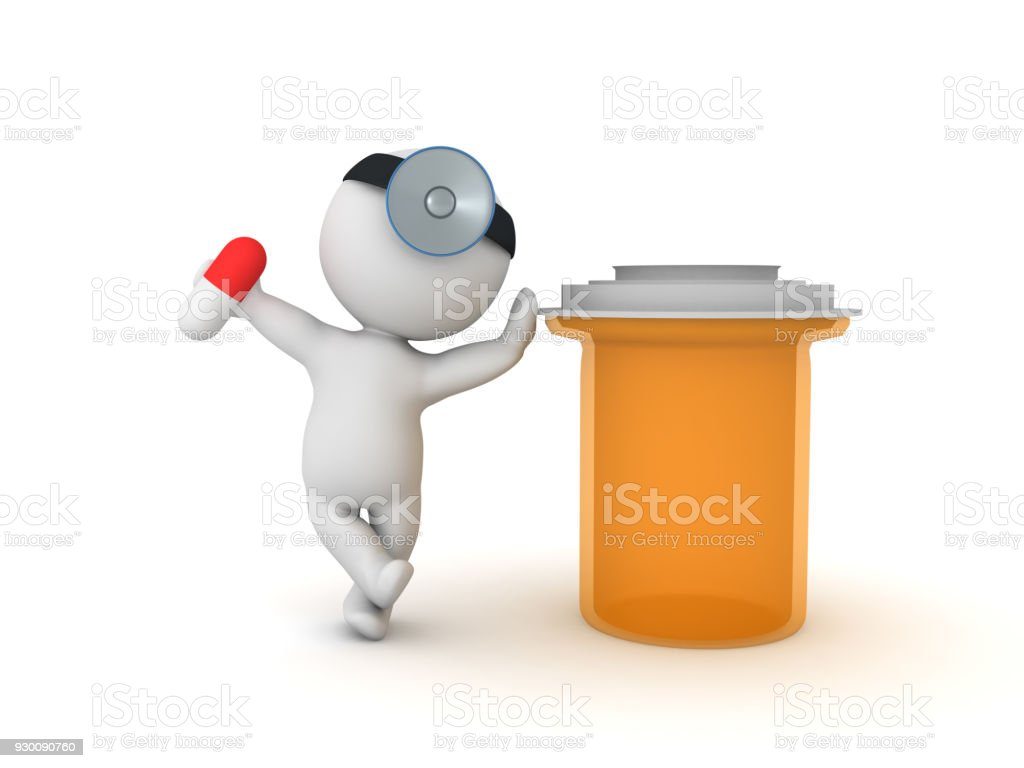 3D illustration of doctor with pharmacy bottle and capsule pill stock photo