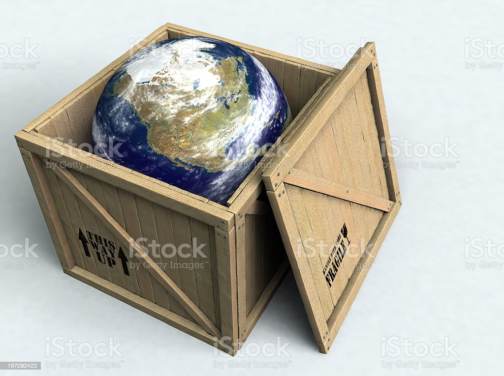 Illustration of Earth inside a wooden box with the top off stock photo