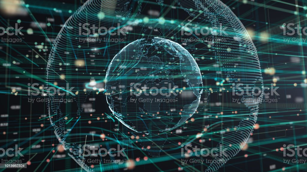illustration of Earth particle technology Futuristic computer digital Abstract  background stock photo