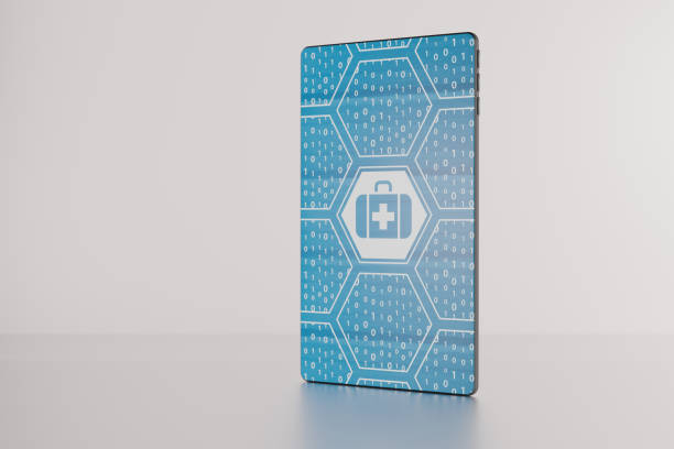 3D illustration of electronich healthcare displayed on futuristic bezel-free smartphone. stock photo