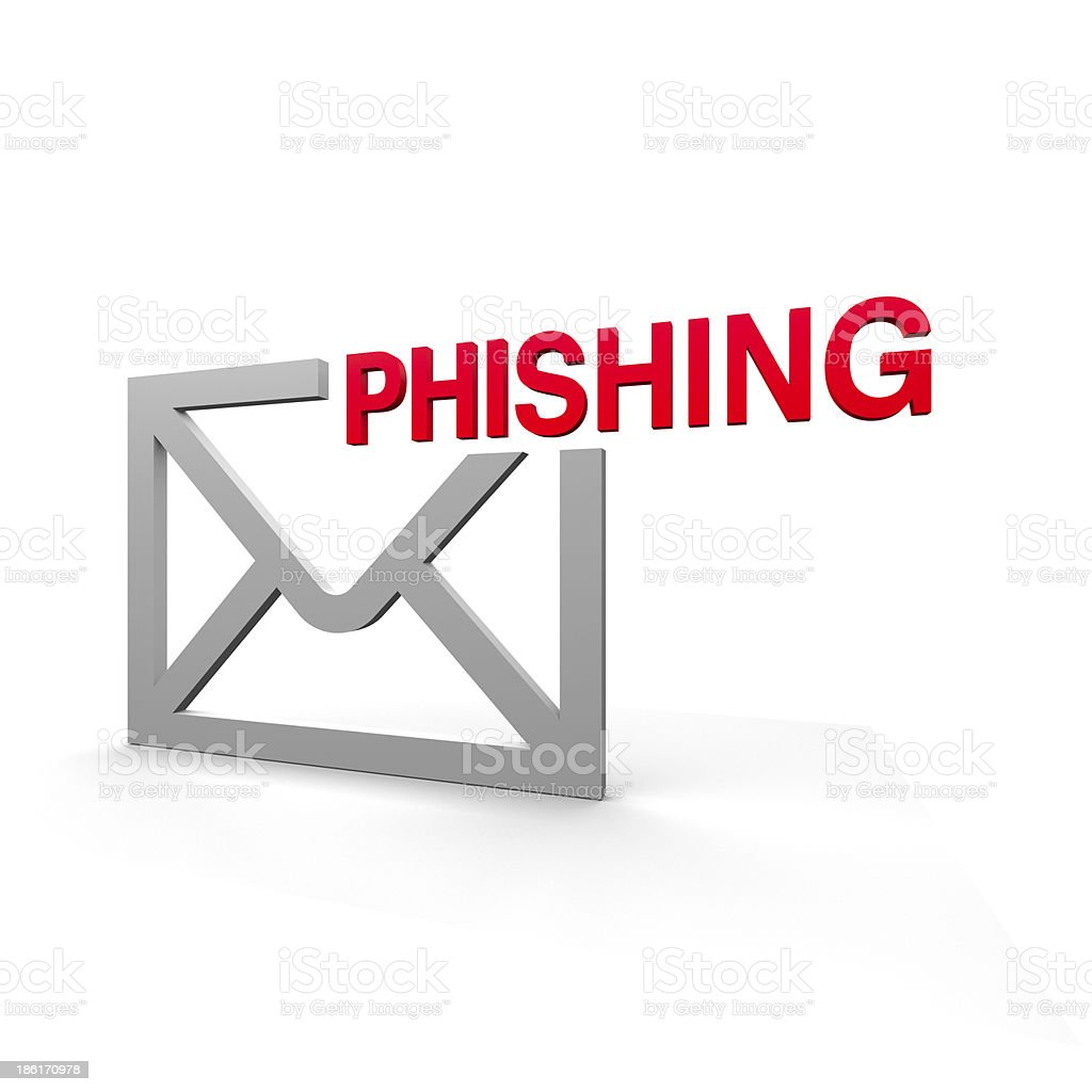 Illustration of email envelope with phishing on it stock photo