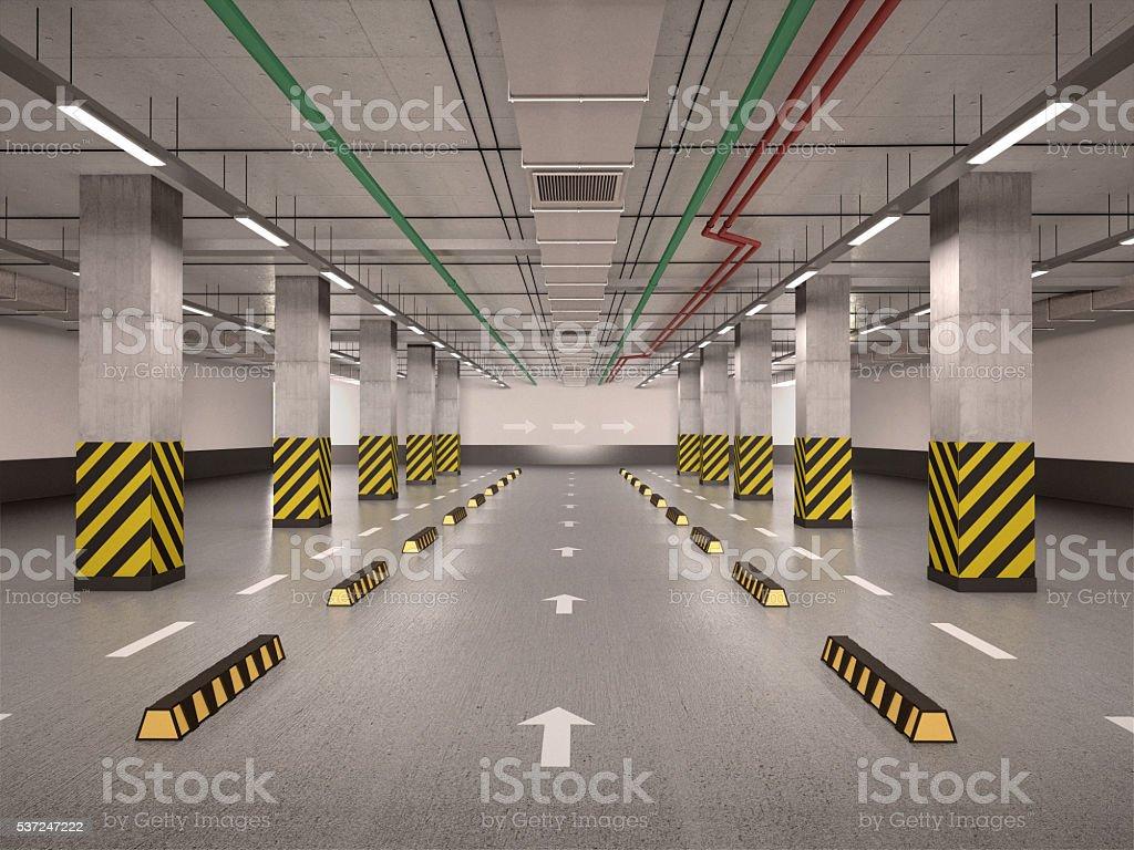 illustration of Empty underground parking stock photo