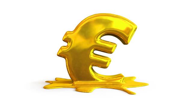 3D illustration of euro symbol melting stock photo