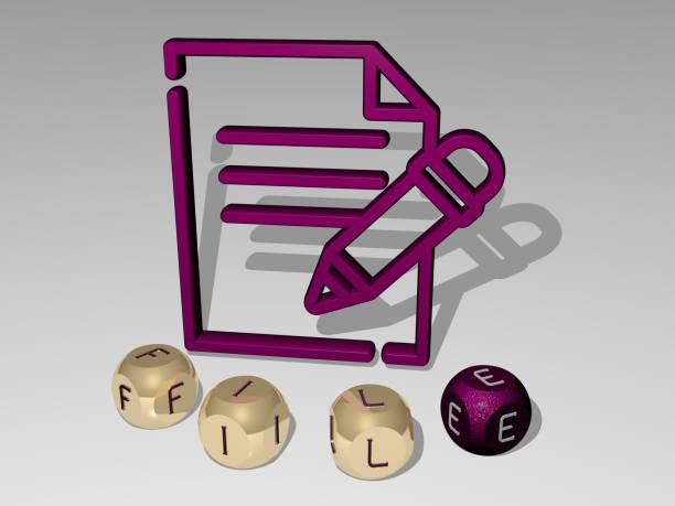 コンセプトとプレゼンテーションの関連する意味のためのメタリックダイス文字によって作られたアイコンの周りのファイルグラフィックスとテキストの3dイラスト。背景とビジネス - business icon eps ストックフォトと画像