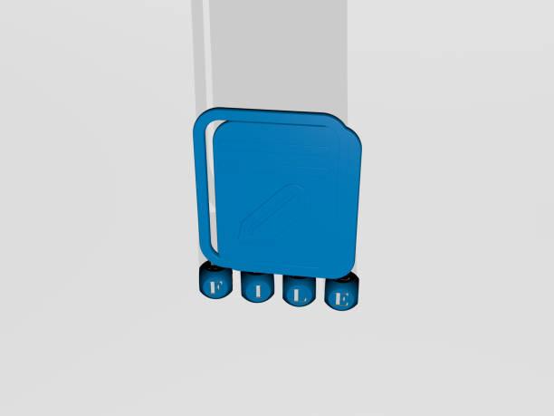 コンセプトとプレゼンテーションの関連する意味のためにメタリックダイス文字で作られたファイルグラフィックとテキストの3dイラスト。アイコンと背景 - business icon eps ストックフォトと画像